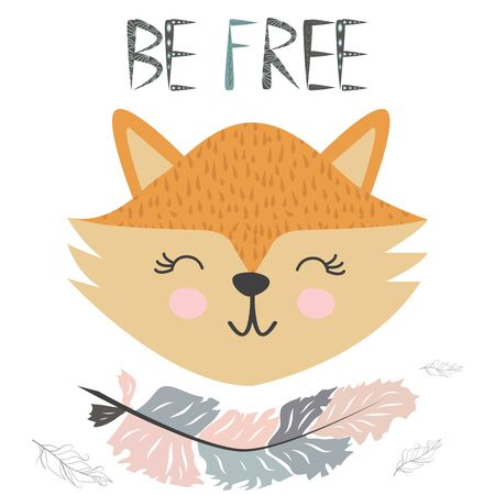 Cute little fox smiling face with graceful feather in the Scandinavian style. Inscription quote Be Free. Graphic design. Stock Illustratie