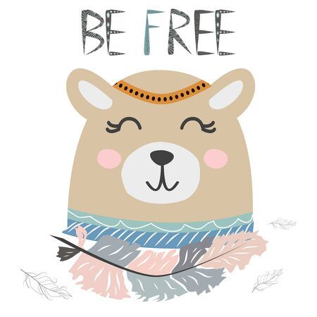 Cute little bear smiling face with graceful feather in the Scandinavian style. Inscription quote Be Free. Graphic design.