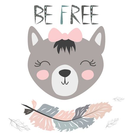 Cute little wolf smiling face with graceful feather in the Scandinavian style. Inscription quote Be Free. Graphic design. Foto de archivo - 129244040