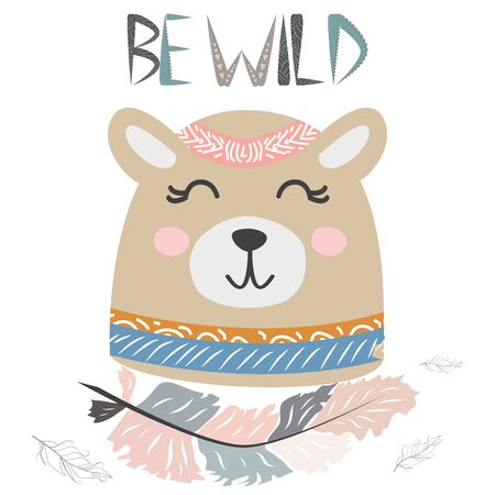 Cute little bear smiling face with graceful feather in the Scandinavian style. Lettering quote Be wild. Graphic design.