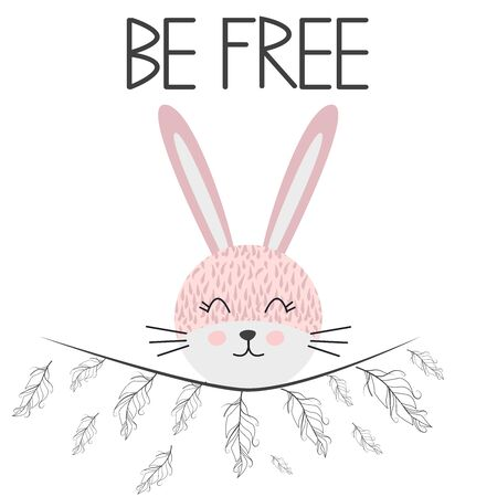 Cute sweet little rabbit smiling face with feathers. Inscription quote Be Free. Graphic design. Stock Illustratie