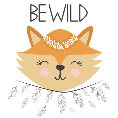 Cute sweet little fox smiling face with feathers. Lettering quote Be wild. Graphic design. Stockfoto - 129244058