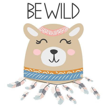 Cute sweet little bear smiling face with feathers. Lettering quote Be wild. Graphic design. Stock Illustratie