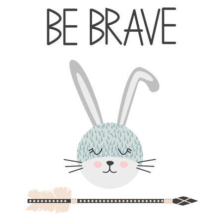 Lächelnde Gesichtskunst des netten süßen kleinen Kaninchens. Schriftzug Zitat sei mutig. Kinderkindergarten skandinavische handgezeichnete Illustration. Grafikdesign.