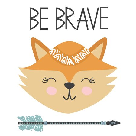 Cute sweet little fox smiling face art. Lettering quote Be Brave. Kids nursery scandinavian hand drawn illustration. Graphic design. Foto de archivo - 129244052