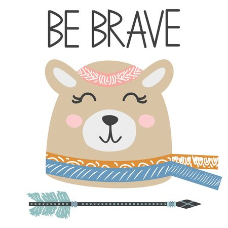 Cute sweet little bear smiling face art. Lettering quote Be Brave. Kids nursery scandinavian hand drawn illustration. Graphic design.
