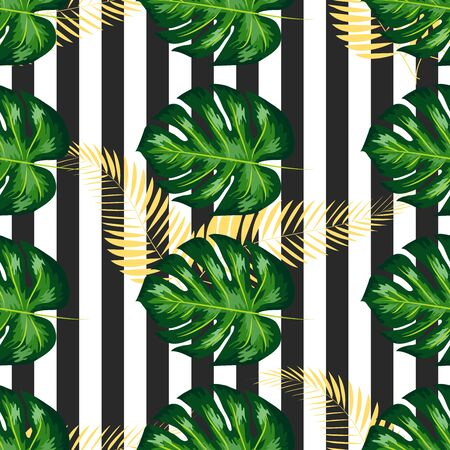 Tropical Pattern with Monstera Leaves. Summer Design for Swimwear.