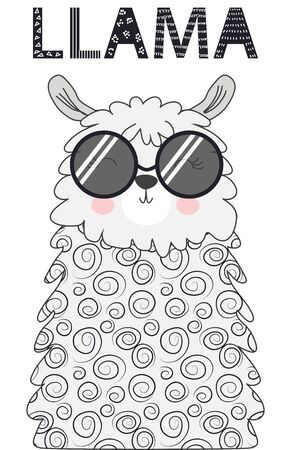 Lama is cute in the Scandinavian style, fashionable, cool, in dark sunglasses.