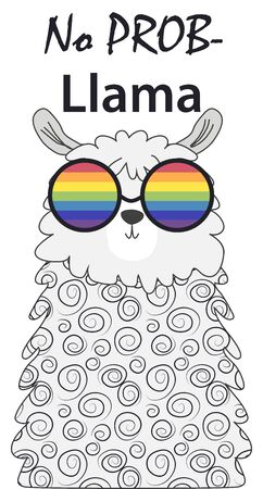 Lama in the Scandinavian style, fashionable, cool, in rainbow glasses. LGBT freedom concept. No llama problem