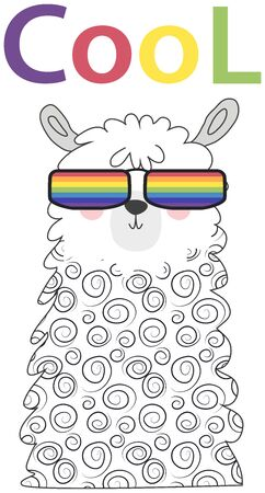 Lama in the Scandinavian style, fashionable, cool, in rainbow glasses. LGBT freedom concept. Foto de archivo - 129244131