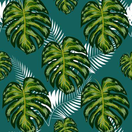 seamless pattern with tropical leaves: palms, monstera, passion fruit. Beautiful allover print with hand drawn exotic plants. Swimwear botanical design