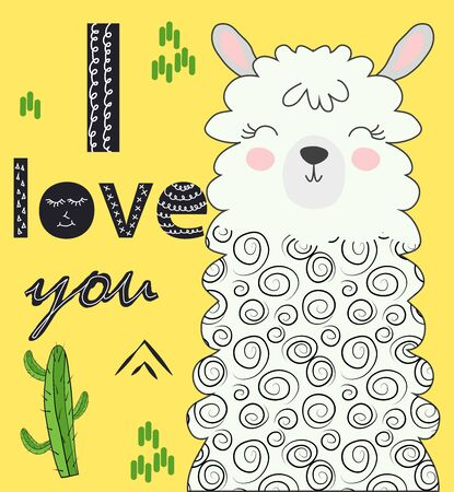 Lama is cute in the Scandinavian style, fashionable, cool, among cacti and mountains. Inscription I love you