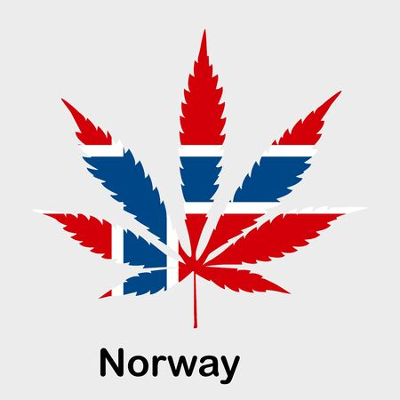 Flag in the form of a cannabis leaf. The concept of legalization of marijuana, cannabis in Norway