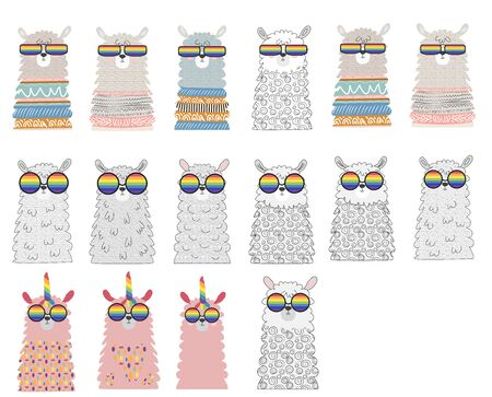 Set Lama in the Scandinavian style, fashionable, cool, in rainbow glasses. LGBT freedom concept