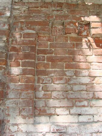 Background of old vintage dirty brick wall with peeling plaster, texture