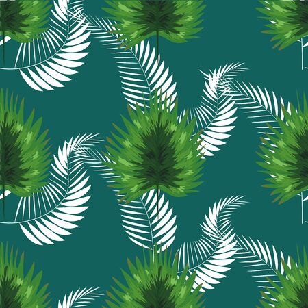 turquoise and green tropical leaves. Seamless graphic design with amazing palms.