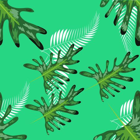 turquoise and green tropical leaves. Seamless graphic design with amazing palms. Fashion, interior, wrapping, packaging suitable. Illustration
