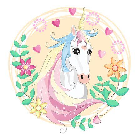 Unicorn face. Beautiful pony unicorns faces, magic horn in rainbow flower wreath and pony cute eyelashes head, fairytale rainbow magical cartoon isolated illustration Illusztráció
