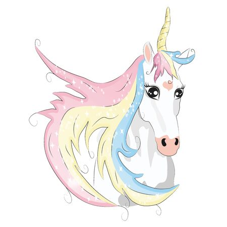 Cute unicorn face with horn and beauty rainbow hair. cartoon character illustration. Design for child card,t-shirt. magic concept.