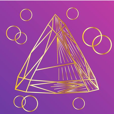 Cute graphic crystals drawn in line art style, design