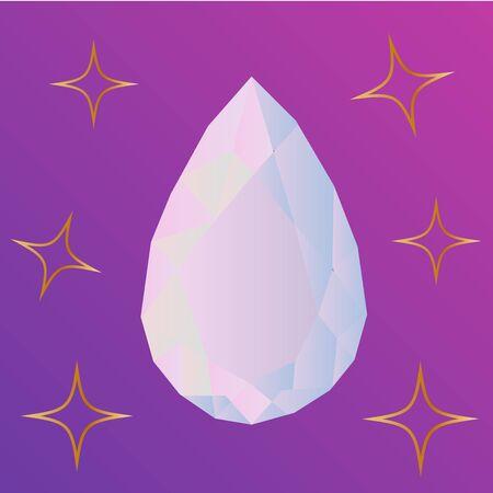 Beautiful pastel crystals drawing. Hand drawn illustration of natural crystal gem. Illustration