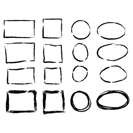 Frames in doodle style. Set of Square, rectangle, circle, oval handdrawn borders.