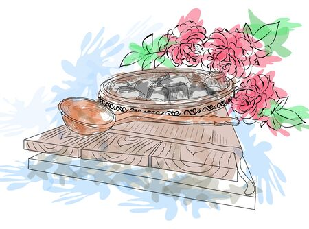Monument Poltava dumplings Ukrainian traditional national dish. Poltava, Ukraine. sketch, watercolor