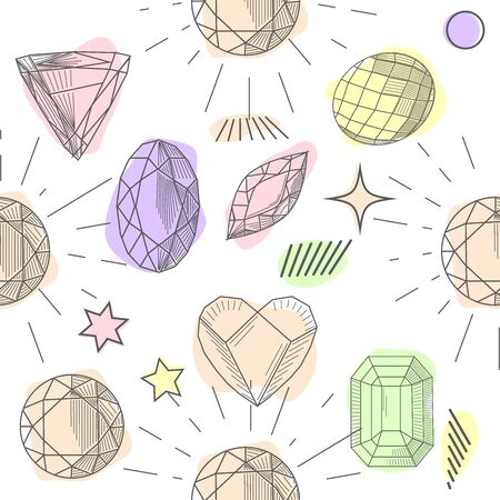 Seamless pattern with colorful fairytale crystals gems. Rainbow multicolored gem stones