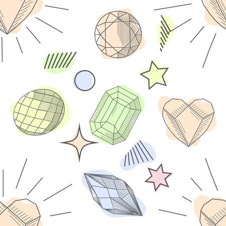 Seamless pattern of hand drawn semiprecious stones: jade, rock crystal, citrine, amethyst, aquamarine, granite, amber, quartz, garnet. Trendy hipster retro background, Pattern of cut shapes.