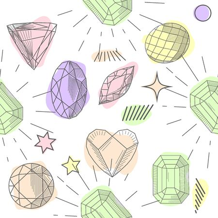 Colorful seamless pattern with hand drawn crystals and gems in pink, lilac tones with gold contour, illustration