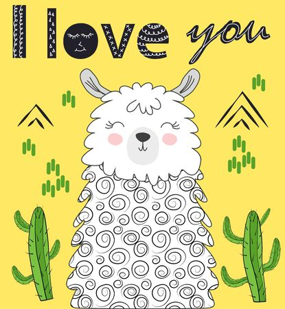 Lama is cute in the Scandinavian style, fashionable, cool, among cacti and mountains. Inscription I love you Zdjęcie Seryjne - 129903549
