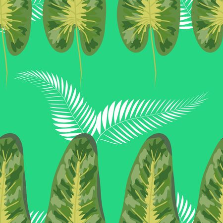 Tropical seamless pattern. Botany design, blue jungle leaves of palm tree and flowers. Иллюстрация