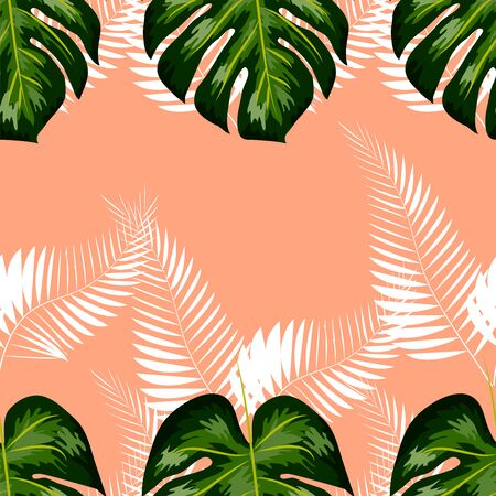 Tropical exotic floral green and red monstera palm leaves seamless pattern. Exotic jungle wallpaper. Иллюстрация