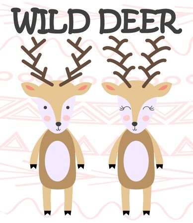 Two beautiful deers. Stylish illustration, scandinavian style