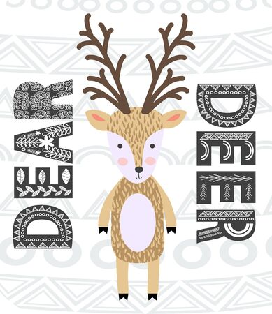 Deer hand drawn illustration. Wild animal with antlers drawing in scandinavian style. Cute cartoon reindeer character poster. Illustration