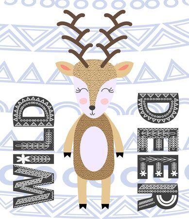 Wild animal with antlers drawing in scandinavian style. Cute cartoon reindeer character poster.