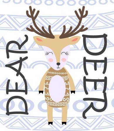 Deer hand drawn illustration in scandinavian style. Cute cartoon reindeer character poster.