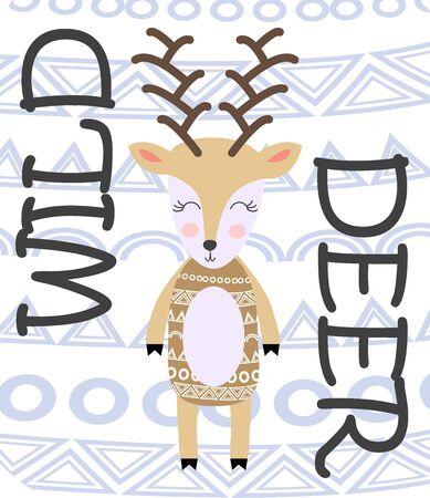 Deer hand drawn illustration in scandinavian style. Cute cartoon reindeer character poster. Illustration