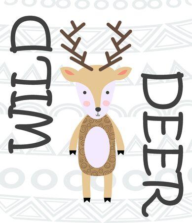 Deer hand drawn illustration. Wild animal with antlers drawing in scandinavian style. Cute cartoon reindeer character poster.