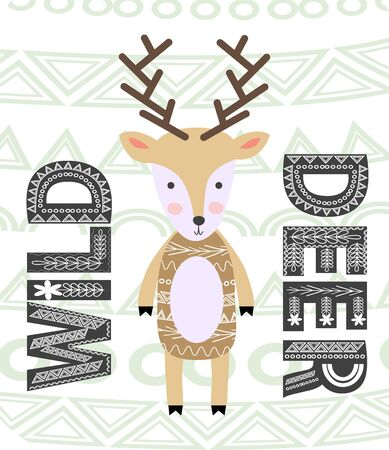 Cute cartoon deer. Composition with folk art animals and floral decor elements. Scandinavian style Illustration