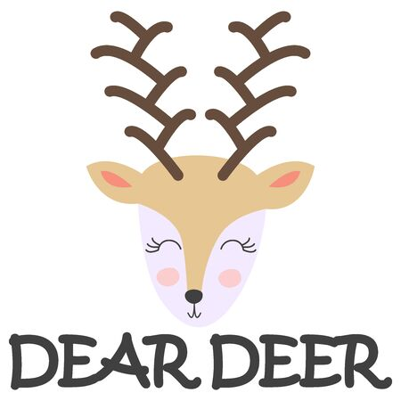 Card with a funny deer head with the word. Isolated scandinavian cartoon illustration for kids poster, clothes print. 일러스트