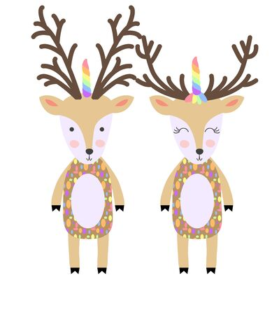 Deers. Cute hand drawn nursery poster with handdrawn deers in scandinavian style. deer with unicorn horn
