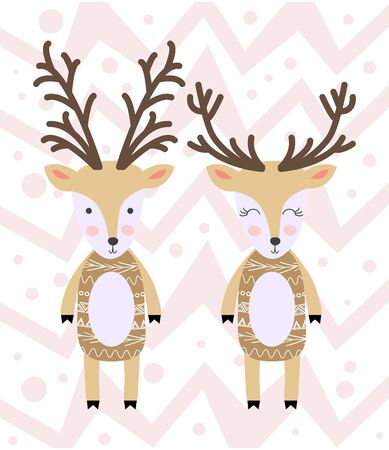 Cartoon Deer family. Brightly colored childish animals. Template for Greeting Invitations, Planners. Archivio Fotografico - 129906366