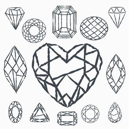 Ensemble de cristaux géométriques. Formes géométriques. Arrière-plans et logos rétro tendance hipster. Logo