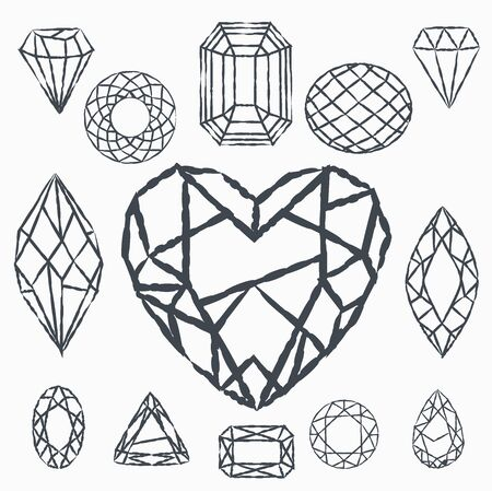 Set of geometric crystals. Geometric shapes. Trendy hipster retro backgrounds and logotypes. Logo