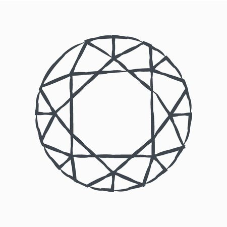 Grunge Diamond icon isolated on white background. Jewelry symbol