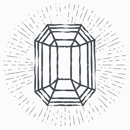 Grunge Diamond icon isolated on white background. Jewelry symbol. Gem stone