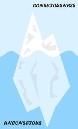 Iceberg Metapher Strukturmodell für Psyche oder Diagramm des Es, Bewältigungsmechanismus in der Psychologie, bei dem der untergetauchte Teil das Unbewusste ist.