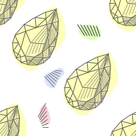 Seamless colorful diamond gemstones background on black. Jewels pattern.