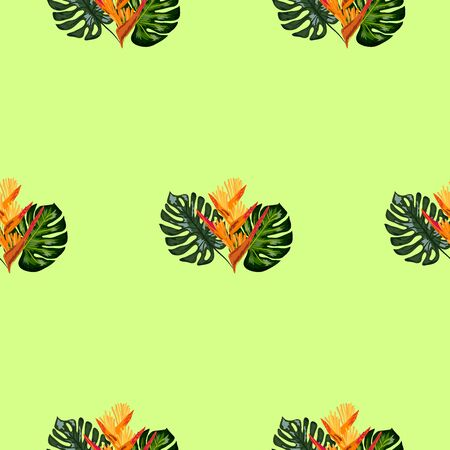 Summer jungle pattern with tropical flowers heliconia or lobster-claw background. Perfect for wallpapers, pattern fills, web page backgrounds, surface textures, textile